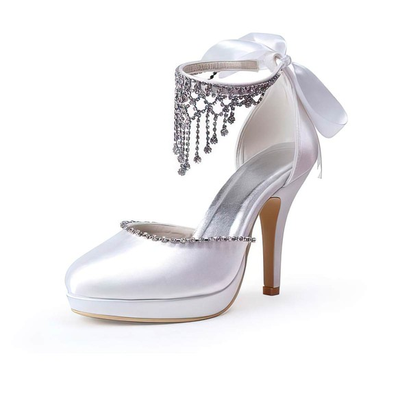 Women's Satin with Crystal Lace-up Stiletto Heel Pumps Closed Toe Platform