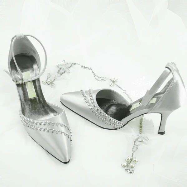 Women's Patent Leather with Buckle Crystal Stiletto Heel Pumps Closed Toe #PDS03030019