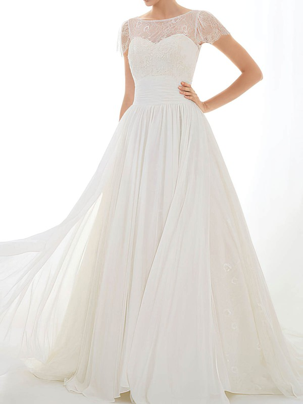 Open Back Cap Straps Scoop Neck A-line Chiffon Lace Modest Wedding Dress #PDS00020548