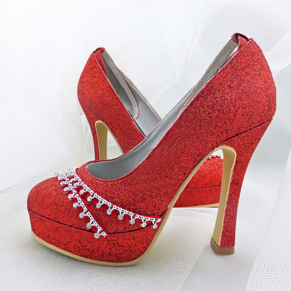 Women's Sparkling Glitter with Buckle Crystal Stiletto Heel Pumps Closed Toe Platform