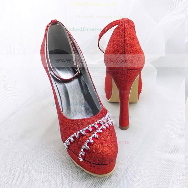 Women's Sparkling Glitter with Buckle Crystal Stiletto Heel Pumps Closed Toe Platform