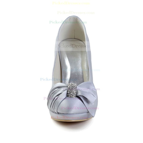 Women's Satin with Bowknot Crystal Stiletto Heel Pumps Closed Toe Platform