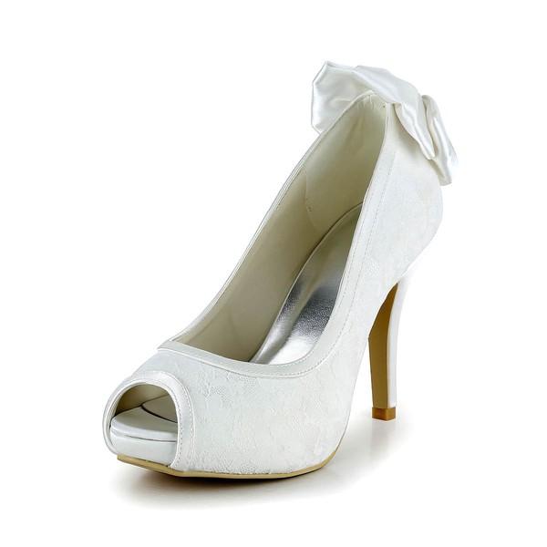 Women's Lace with Bowknot Stiletto Heel Pumps Peep Toe Platform