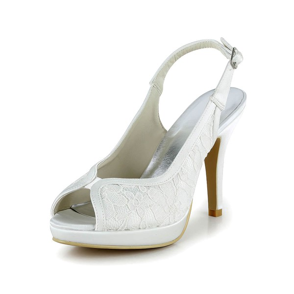 Women's Lace with Buckle Stiletto Heel Pumps Peep Toe Platform
