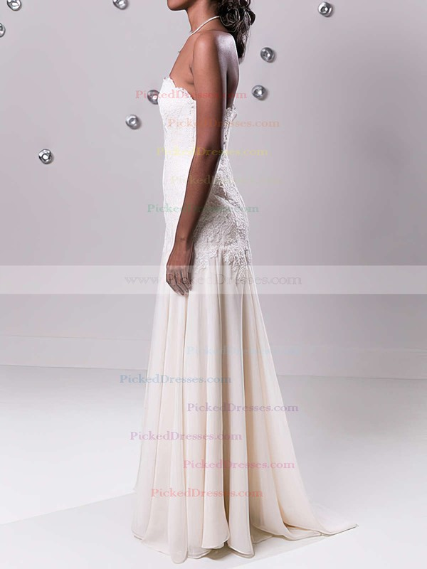 Strapless Nicest Chiffon with Appliques Lace Sheath/Column Ivory Wedding Dress #PDS00020549