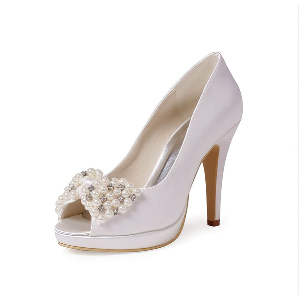 Women's Satin with Crystal Pearl Stiletto Heel Pumps Peep Toe Platform