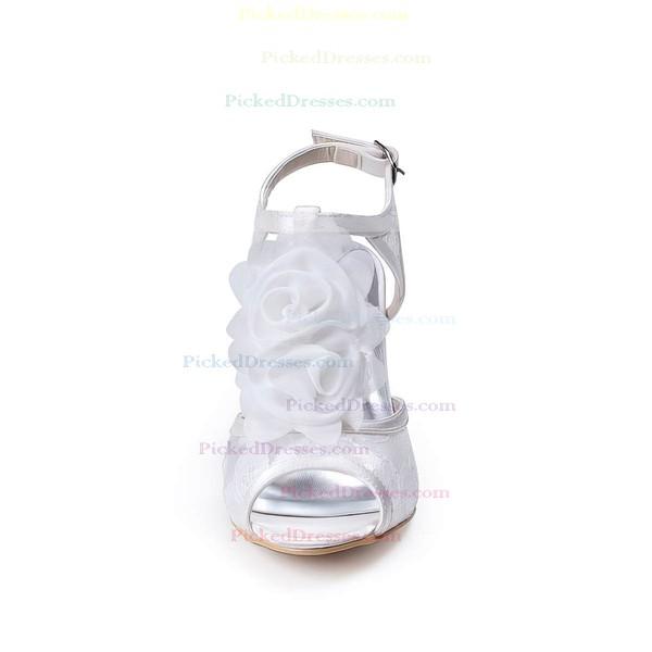 Women's Lace with Buckle Flower Spool Heel Pumps Sandals Peep Toe