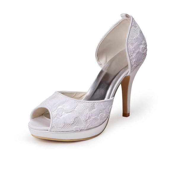 Women's Lace   Stiletto Heel Platform Peep Toe Pumps