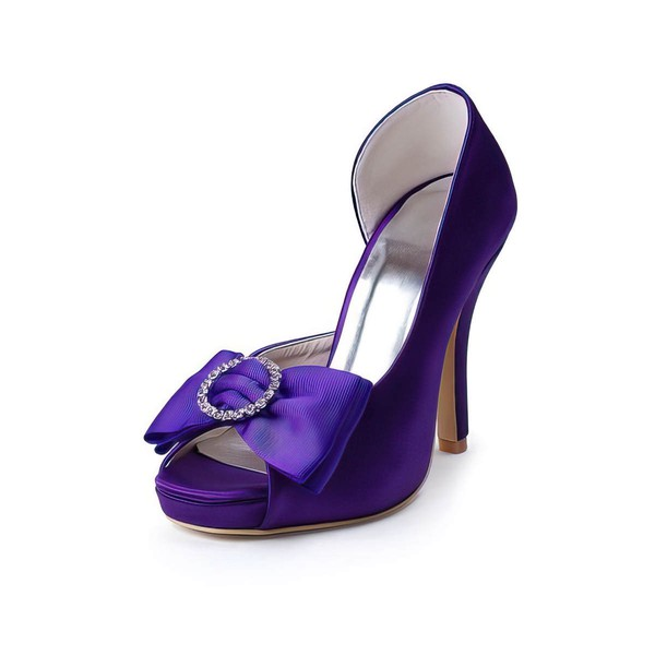 Women's Satin with Bowknot Crystal Stiletto Heel Pumps Peep Toe Platform