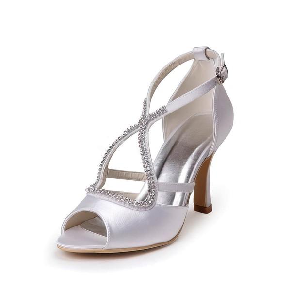 Women's Satin with Buckle Crystal Spool Heel Pumps Peep Toe