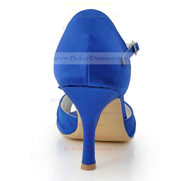 Women's Satin with Buckle Flower Spool Heel Pumps Peep Toe