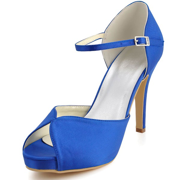 Women's Satin with Buckle Stiletto Heel Pumps Peep Toe Platform