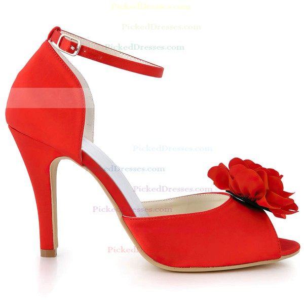 Women's Satin with Buckle Flower Stiletto Heel Pumps Peep Toe