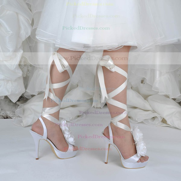 Women's Satin with Flower Ribbon Tie Stiletto Heel Pumps Platform