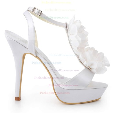 Women's Satin with Buckle Flower Stiletto Heel Pumps Platform #PDS03030044