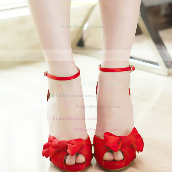 Women's Satin with Buckle Bowknot Stiletto Heel Pumps Peep Toe Platform