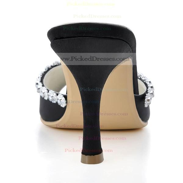 Women's Satin with Crystal Spool Heel Pumps Peep Toe