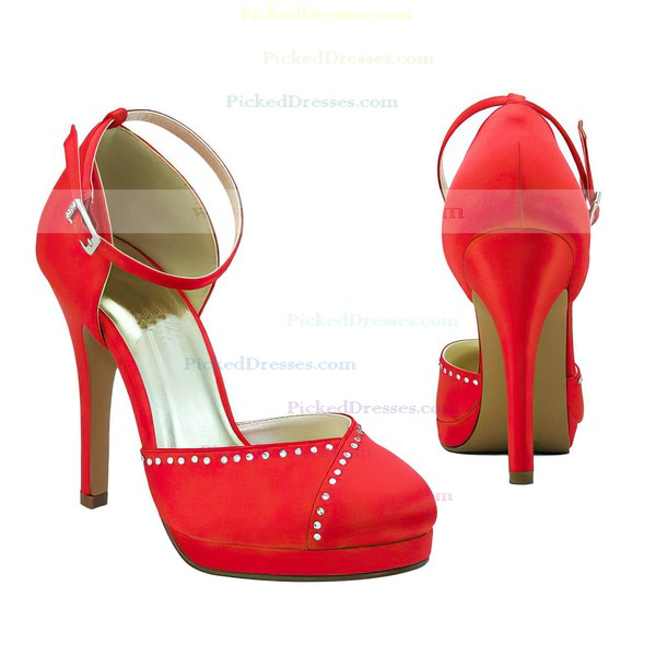 Women's Satin with Buckle Beading Stiletto Heel Pumps Closed Toe Platform
