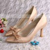 Women's Satin with Bowknot Stiletto Heel Pumps Closed Toe #PDS03030049