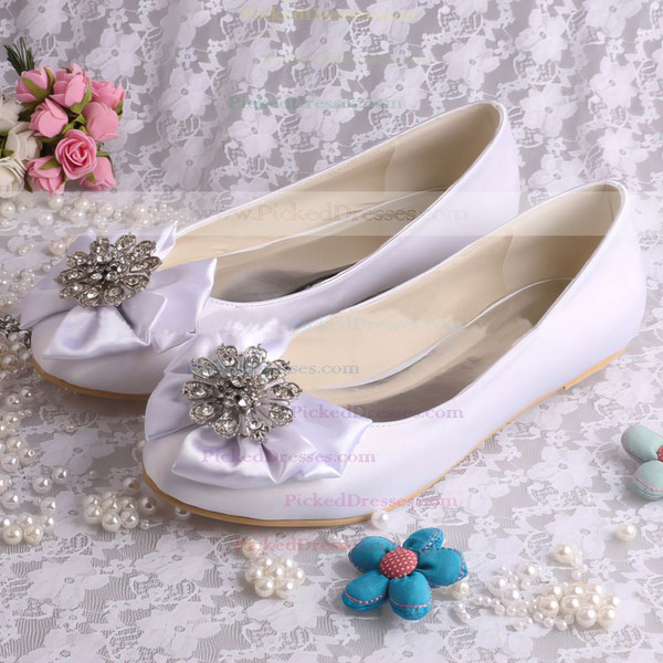 Women's Satin with Crystal Satin Flower Flat Heel Flats