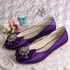 Women's Satin with Crystal Satin Flower Flat Heel Flats #PDS03030051