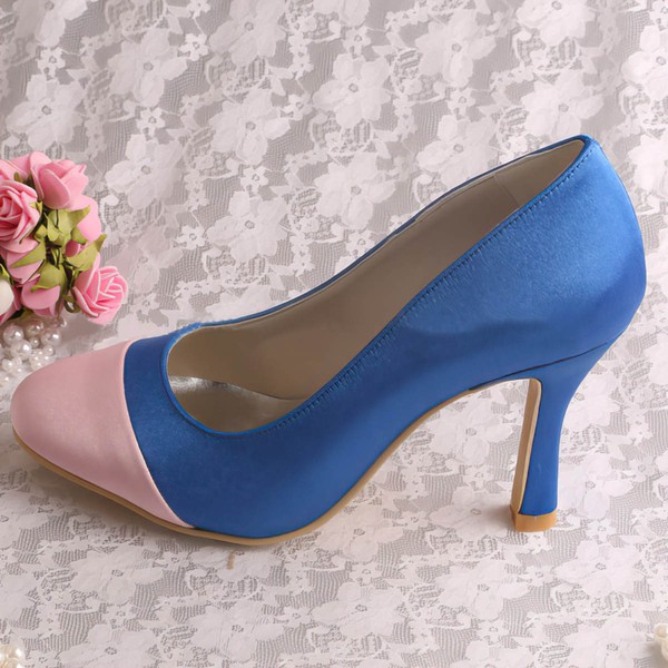 Women's Satin   Spool Heel Pumps Closed Toe