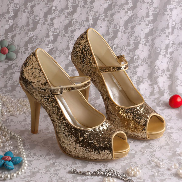 Women's Sparkling Glitter with Buckle Stiletto Heel Pumps Peep Toe