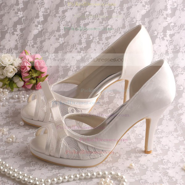 Women's Satin with Bowknot Stitching Lace Stiletto Heel Pumps Peep Toe Platform
