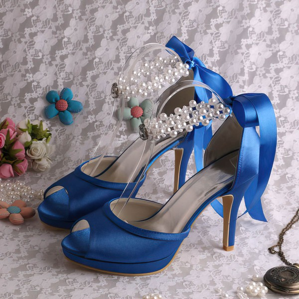 Women's Satin with Lace-up Pearl Stiletto Heel Pumps Peep Toe Platform