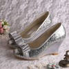 Women's Sparkling Glitter with Bowknot Wedge Heel Pumps Wedges #PDS03030058