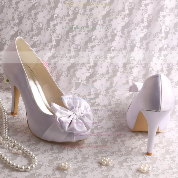Women's Satin with Satin Flower Stiletto Heel Pumps Peep Toe Platform