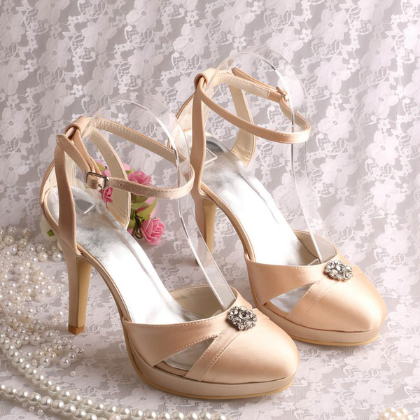 Women's Satin with Buckle Crystal Stiletto Heel Pumps Closed Toe Sandals Platform