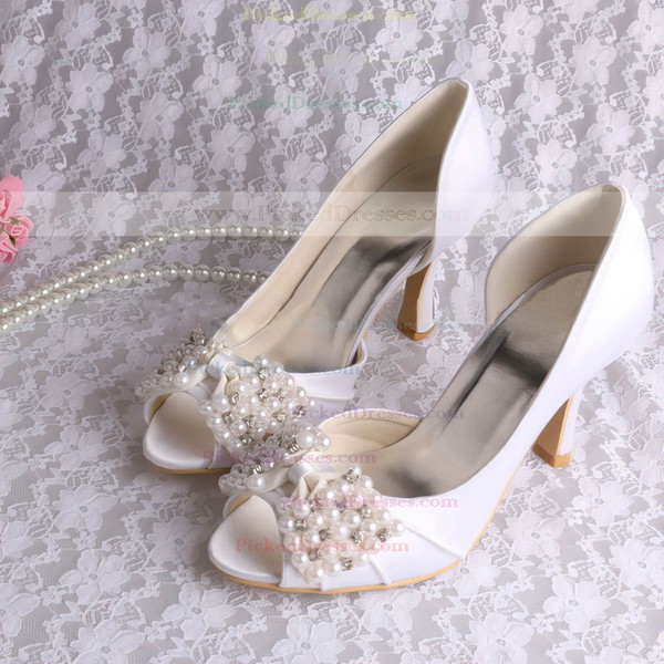 Women's Satin with Bowknot Crystal Pearl Spool Heel Pumps Peep Toe