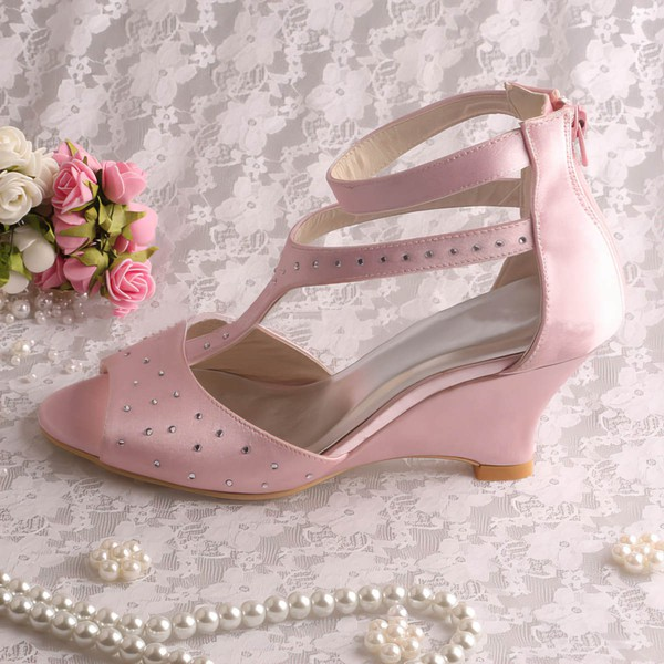 Women's Satin with Beading Zipper Wedge Heel Pumps Wedges