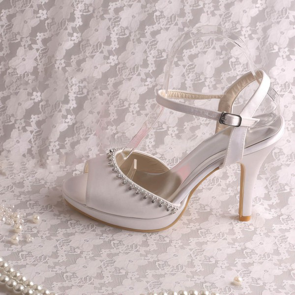 Women's Satin with Buckle Crystal Stiletto Heel Pumps Sandals