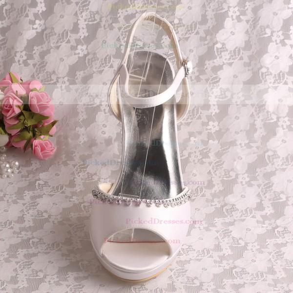 Women's Satin with Buckle Crystal Stiletto Heel Pumps Sandals