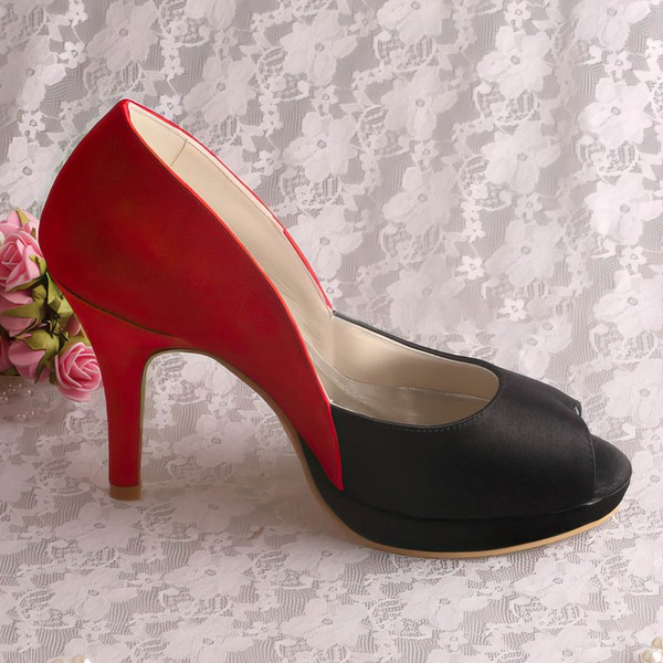 Women's Satin   Stiletto Heel Pumps Peep Toe Platform