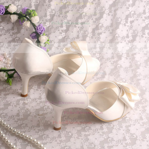 Women's Satin with Bowknot Stiletto Heel Pumps Sandals