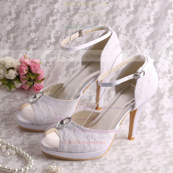 Women's Lace with Rhinestone Buckle Stiletto Heel Pumps Sandals Platform