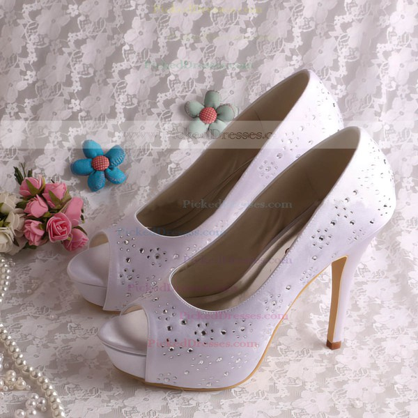 Women's Satin with Crystal Beading Stiletto Heel Pumps Peep Toe Platform
