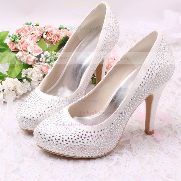 Women's Satin with Rhinestone Stiletto Heel Pumps Closed Toe