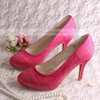 Women's Satin with Rhinestone Stiletto Heel Pumps Closed Toe #PDS03030073