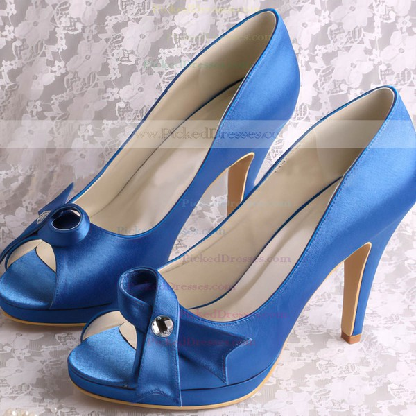Women's Satin with Rhinestone Bowknot Stiletto Heel Pumps Peep Toe Platform