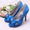 Women's Satin with Bowknot Crystal Hollow-out Stiletto Heel Pumps Sandals Peep Toe #PDS03030075