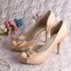 Women's Satin with Rhinestone Bowknot Stiletto Heel Pumps Peep Toe Platform #PDS03030076