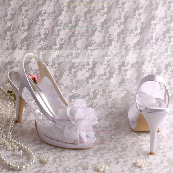 Women's Lace with Flower Stiletto Heel Pumps Sandals Peep Toe Slingbacks