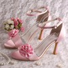 Women's Satin with Buckle Satin Flower Stiletto Heel Pumps Sandals Peep Toe #PDS03030078