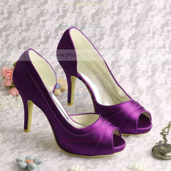 Women's Satin with Ruffles Stiletto Heel Pumps Peep Toe Platform