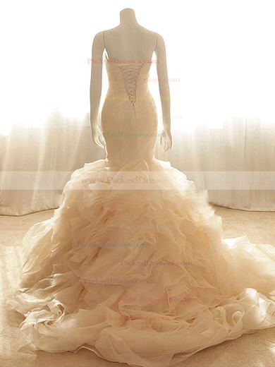Pretty Trumpet/Mermaid Sweetheart Lace-up Tiered Organza Wedding Dresses #PDS00020555