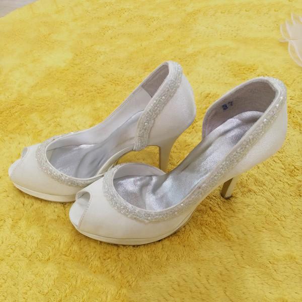 Women's Satin with Imitation Pearl Stiletto Heel Pumps Peep Toe